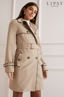 Lipsy Contrast Piping Belted Mac
