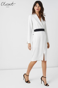 Closet Lapel Wrap Tie Belt Dress
