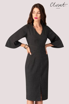 Closet V neck Flared Sleeves Dress
