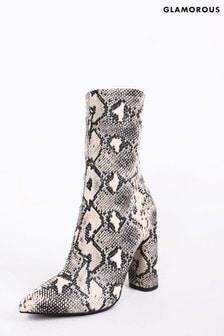 מגפיים בהדפס עור נחש של Glamorous