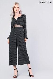 Glamorous Motif Print Long Sleeve Jumpsuit