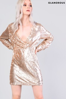Glamorous Sequin V neck Mini Dress