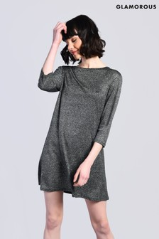 Glamorous Metallic 3/4 Sleeve Dress