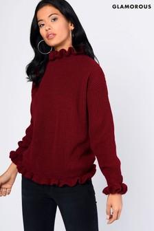 Glamorous Frill Hem Knitted Jumper