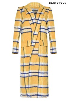 Glamorous Curve Check Print Duster Coat