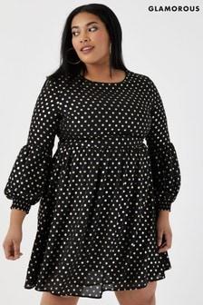 Glamorous Curve Gesmoktes Kleid mit Punkten