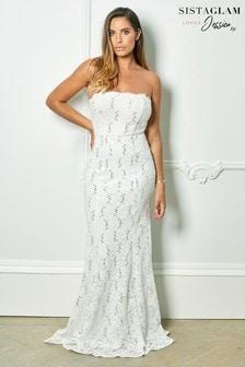 Koronkowa suknia ślubna maxi Sistaglam Loves Jessica Rose Bandeau z cekinami