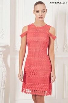 Sistaglam Strappy Crochet Lace Bodycon Dress