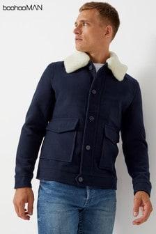 Boohoo Man Wool Blend Borg Collar Harrington Jacket