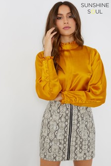 Sunshine Soul Satin Frill High Neck Blouse