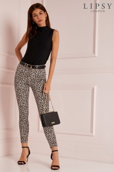 Lipsy Mid Rise Skinny Natural Leopard Regular Length Jeans