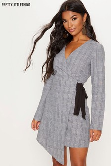 PrettyLittleThing Checked Wrap Dress