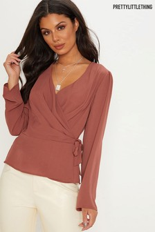 PrettyLittleThing Wrap Front Blouse