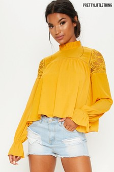 PrettyLittleThing Lace Insert High Neck Blouse