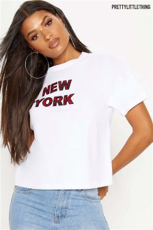 PrettyLittleThing Camo Slogan New York T-Shirt