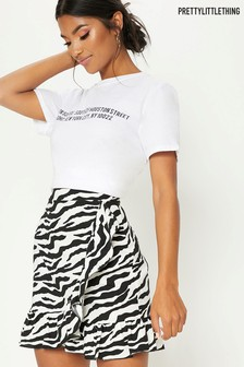 PrettyLittleThing Zebra Wrap Mini Skirt