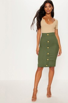 PrettyLittleThing Military Pencil Midi Skirt