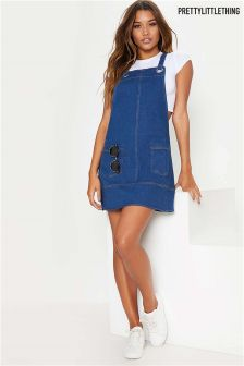 PrettyLittleThing Denim Pinafore Dress