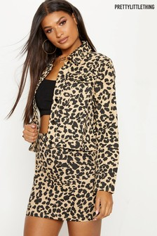 PrettyLittleThing Leopard Print Denim Jacket