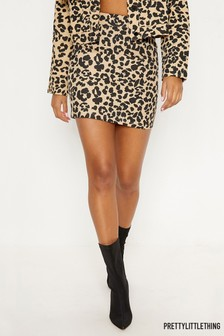 PrettyLittleThing Leopard Print Denim Skirt