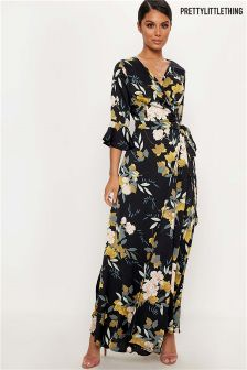 PrettyLittleThing Floral Wrap Maxi Dress