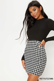 PrettyLittleThing Dog Tooth Dress