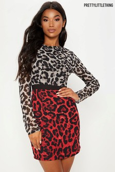 PrettyLittleThing Contrast Leopard Print Mini Dress