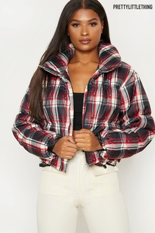 PrettyLittleThing Check Padded Jacket