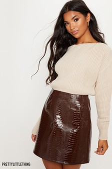 PrettyLittleThing Snake Print Faux Leather Skirt