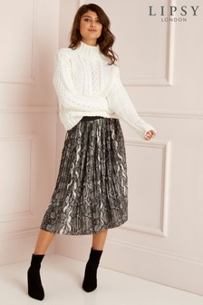 Lipsy Snake Print Pleated Skirt