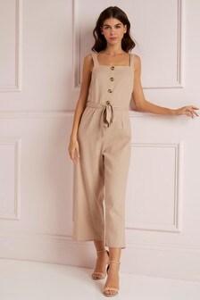 Lipsy Linen Blend Button Jumpsuit