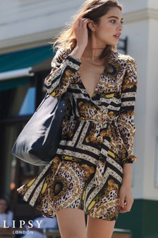 Lipsy Chain Print Wrap Dress