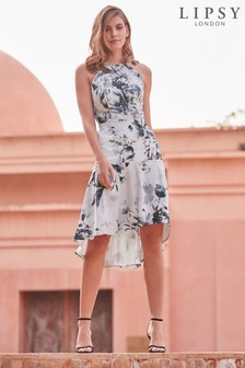 Lipsy VIP Mono Tori Print Satin Midi Dress