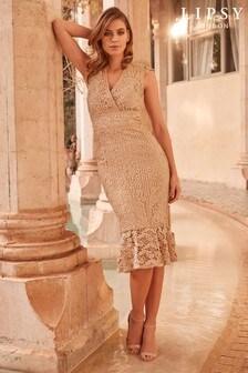 Haftowana, koronkowa sukienka midi Lipsy VIP, z głębokim dekoltem i baskinką u dołu