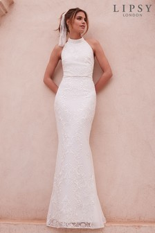 Lipsy Bridal Meghan Sequin Lace High Neck Maxi Dress
