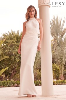 Lipsy Bridal Natalya High Neck Pearl Detail Maxi Dress
