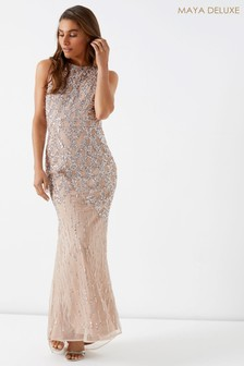 Maya Petite Crossback Cage Embellished Maxi Dress