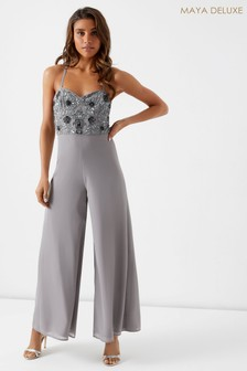 Maya Petite Strap Basque Wide Leg Jumpsuit