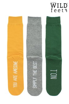 Wild Feet Pack of 3 Slogan Socks