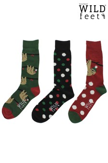 Wild Feet Pack of 3 Christmas Sloth Socks