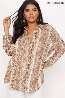 PrettyLittleThing Plus Snake Print Oversized Shirt
