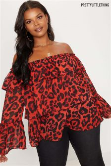PrettyLittleThing Plus Animal Print Frill Bardot