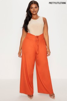 PrettyLittleThing Plus High Waist Corset Wide Leg Trousers