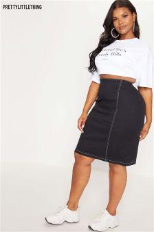 PrettyLittleThing Plus Contrast Stitch Midi Skirt