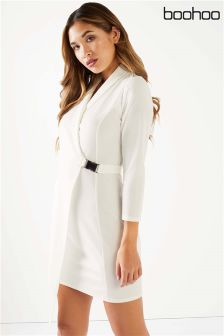 Boohoo Satin Belted Wrap Dress