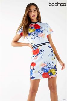 Boohoo Sports Stripe Floral Dress
