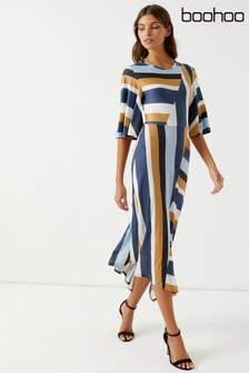 Boohoo Stripe Slinky Midi Dress