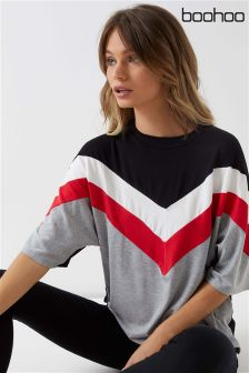 Boohoo Stripe Oversized T-Shirt