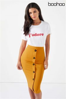 Boohoo Button Front Midi Skirt