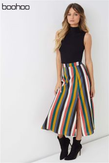 Boohoo Striped Midi Skirt
